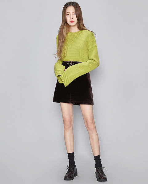 long sleeve slit knit (2 colors)