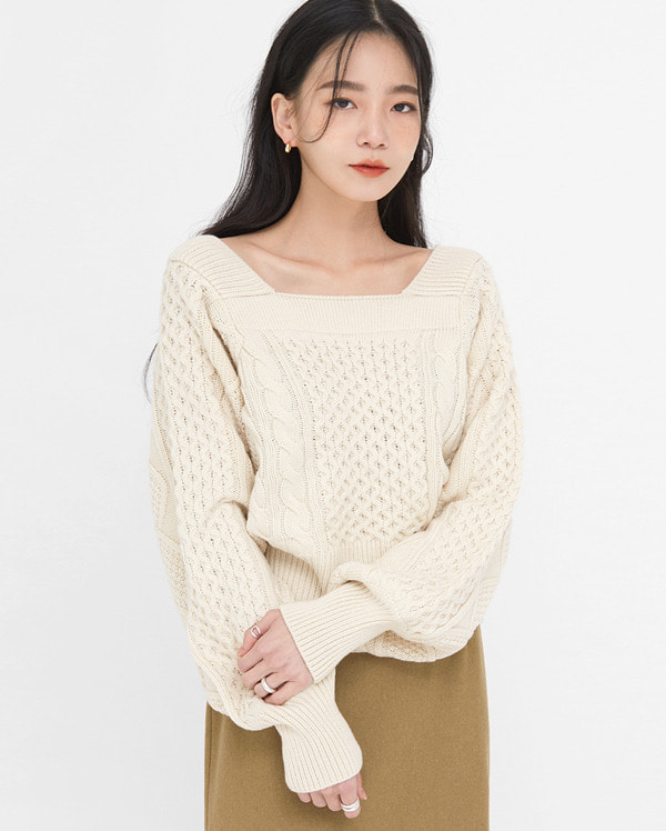 known square cable puff knit