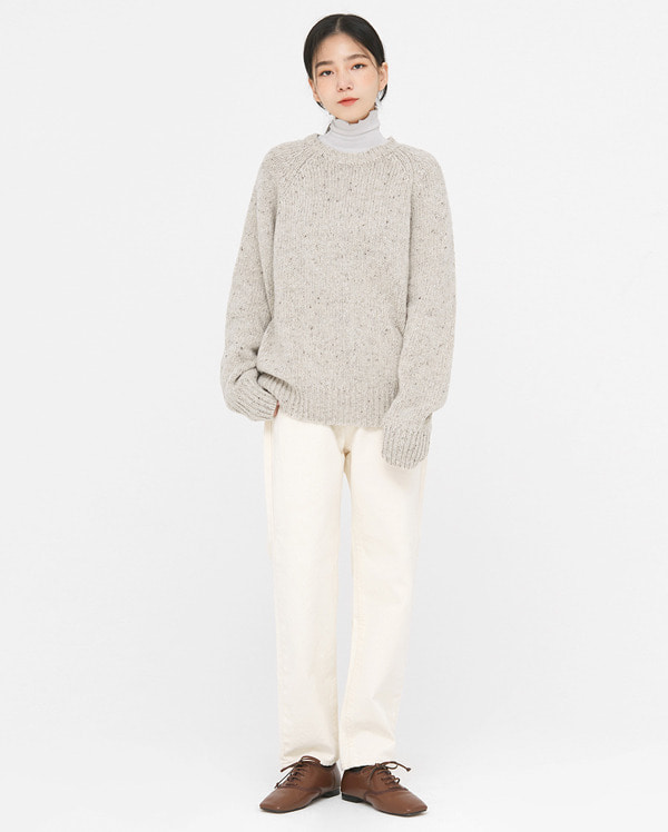 mix color wool round knit